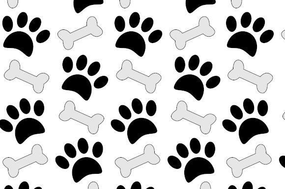 Print on Demand: Do Paw Prints and Bones Cartoon Pattern Graphic Patterns By almdrs