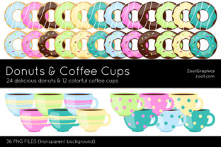 Donuts and Coffee Cups Clip Art Graphic Illustrations By ZoollGraphics