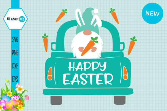 Download Free Easter Bunny Gnome In Truck Graphic By All About Svg Creative for Cricut Explore, Silhouette and other cutting machines.