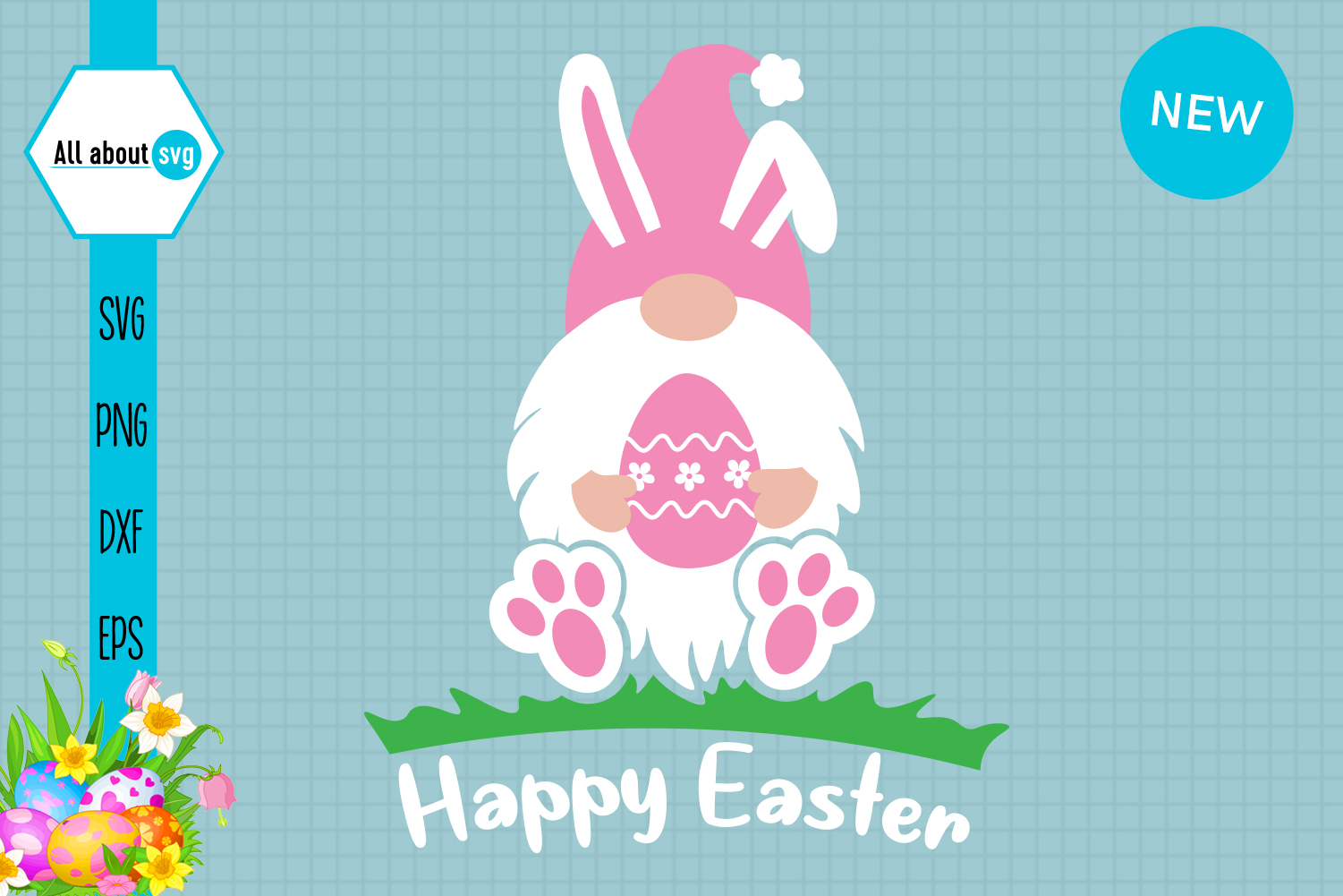 Download Free Easter Bunny Gnome Pink Graphic By All About Svg Creative Fabrica for Cricut Explore, Silhouette and other cutting machines.