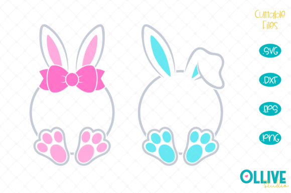 Download Free Easter Bunny Monogram Graphic By Ollivestudio Creative Fabrica for Cricut Explore, Silhouette and other cutting machines.