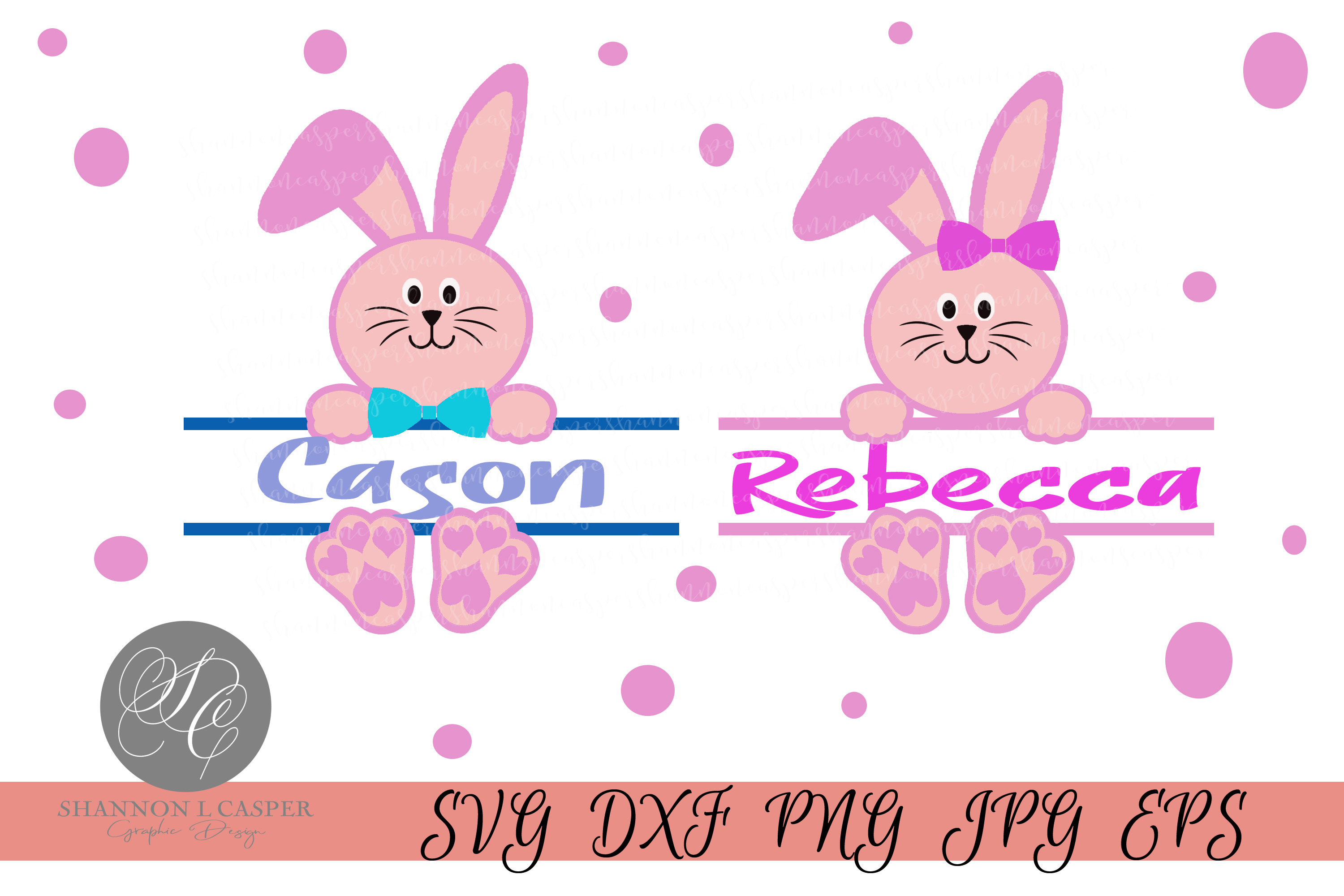 Download Free Easter Bunny Split Monogram Set Graphic By Shannon Casper for Cricut Explore, Silhouette and other cutting machines.