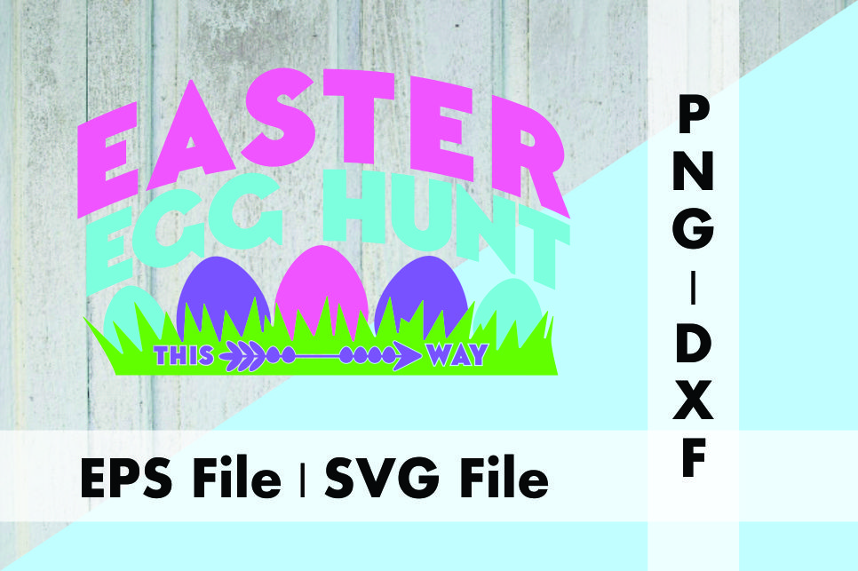 Download Free Easter Egg Hunt This Way Design Graphic By Deespana Studio for Cricut Explore, Silhouette and other cutting machines.