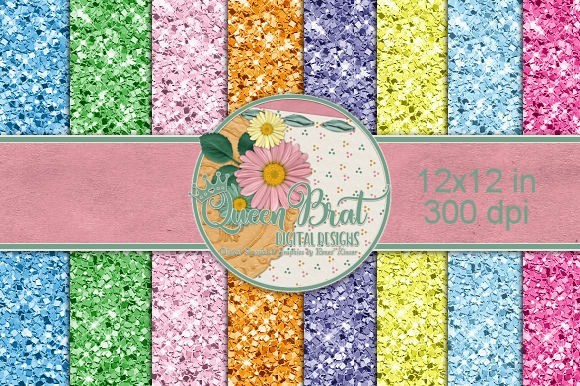 Print on Demand: Easter Glitters Backgrounds Graphic Backgrounds By QueenBrat Digital Designs
