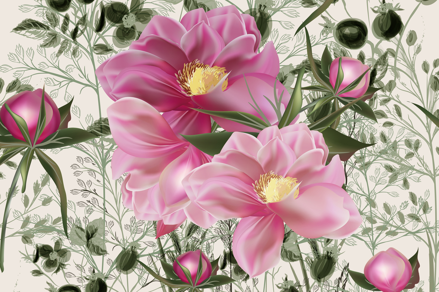 Download Free Elegant Flower Vector Pattern With Peony Graphic By Fleurartmariia Creative Fabrica for Cricut Explore, Silhouette and other cutting machines.