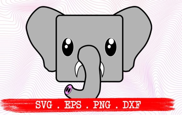 Download Free Elephant Cute Face Funny Graphic By Vikshangat Creative Fabrica for Cricut Explore, Silhouette and other cutting machines.