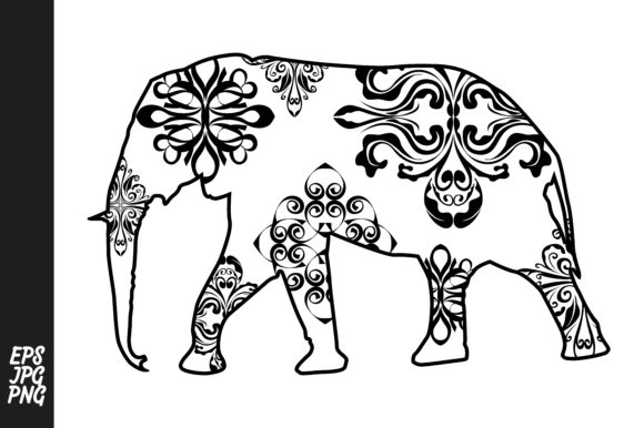Download Free Elephant Mandala Line Art Style Graphic By Arief Sapta Adjie for Cricut Explore, Silhouette and other cutting machines.