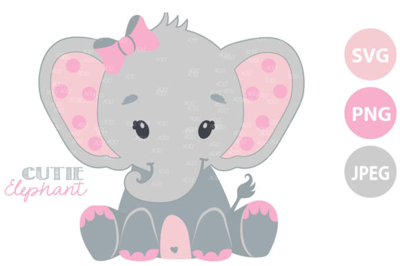 Print on Demand: Elephant Pink - Girl Animal Graphic Illustrations By adlydigital