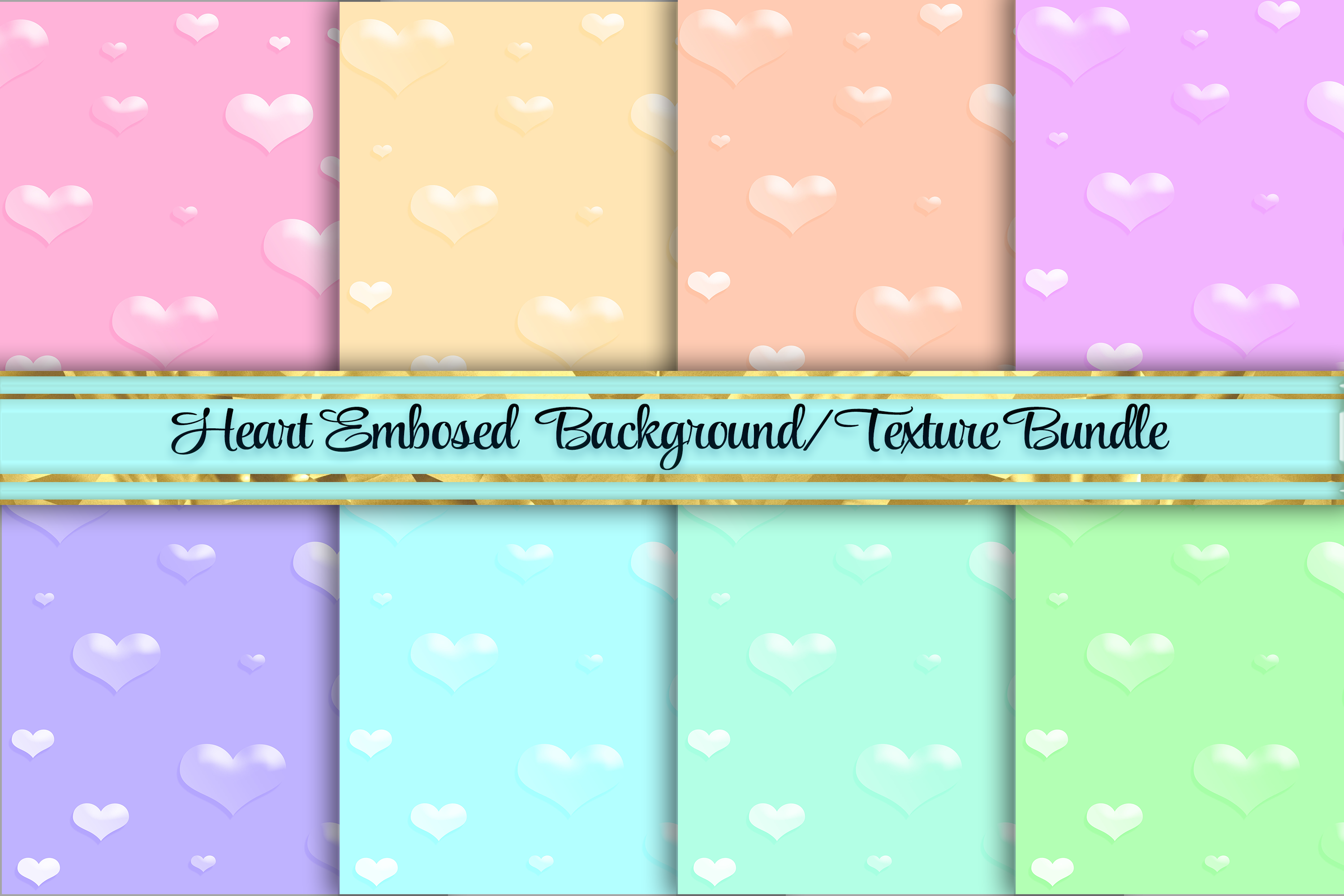 Embossed Heart Pastel Texture Background Graphic By Am Digital
