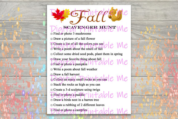 Print on Demand: Fall Scavenger Hunt Nature Game Graphic Crafts By DigitalPrintableMe