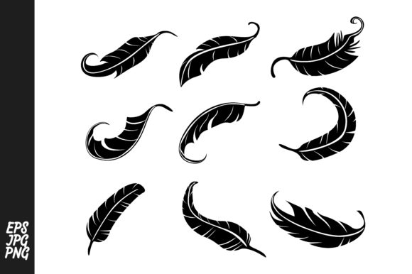 Print on Demand: Feather Silhouette Vector Set Graphic Crafts By Arief Sapta Adjie
