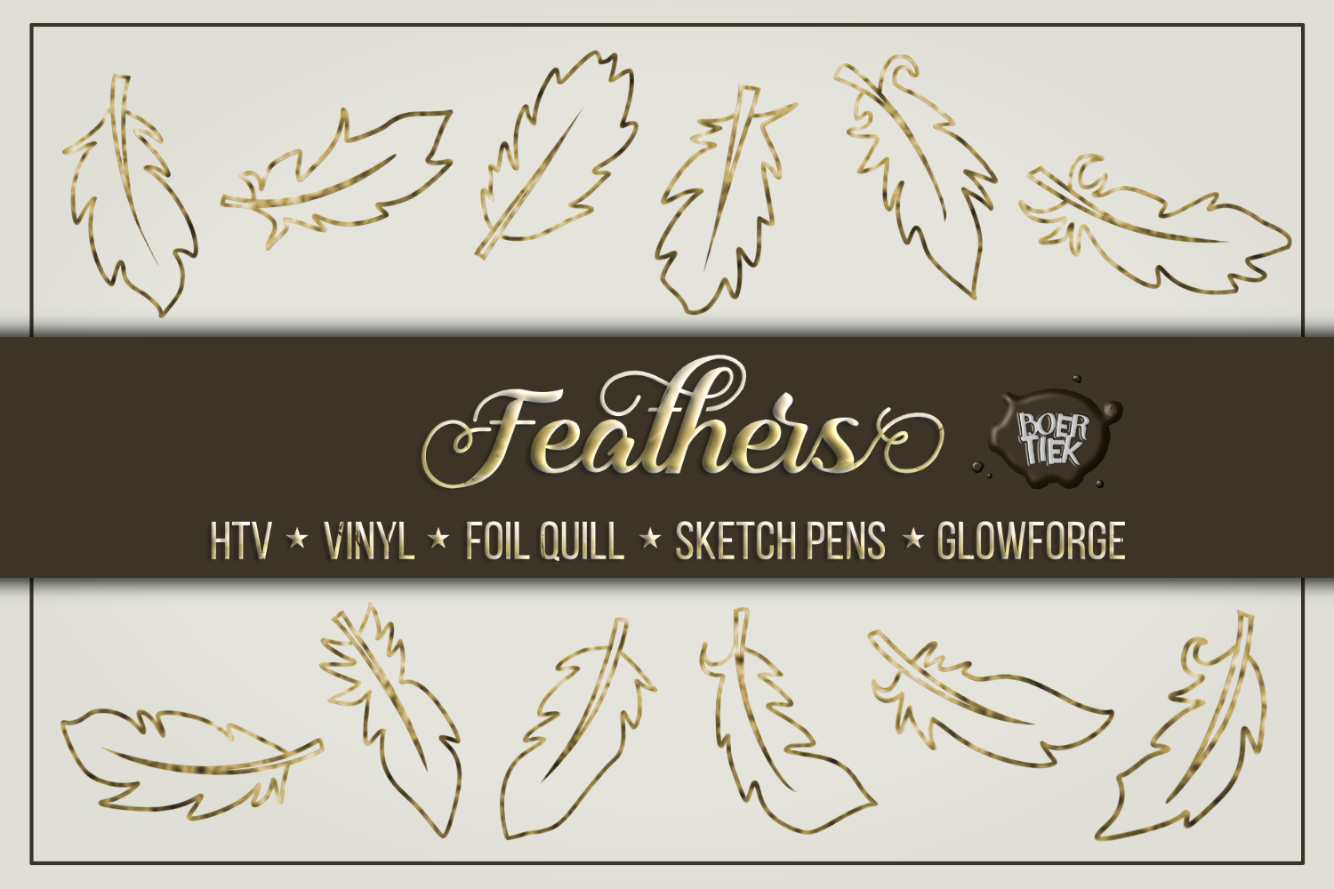 Download Free Feathers Single Line Cut Files Graphic By Boertiek Creative for Cricut Explore, Silhouette and other cutting machines.