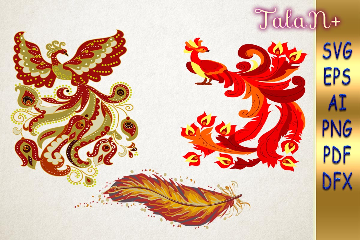 Download Free Fiery Fabulous Fantastic Phoenix Birds Graphic By Talanpluss for Cricut Explore, Silhouette and other cutting machines.