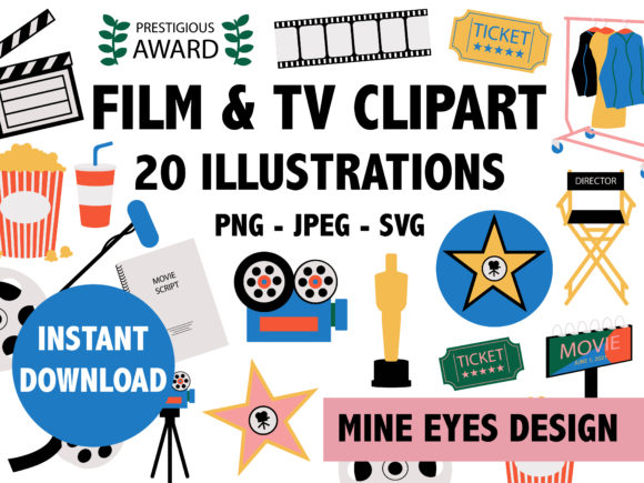 Print on Demand: Film and Television Hollywood Clipart Graphic Illustrations By Mine Eyes Design