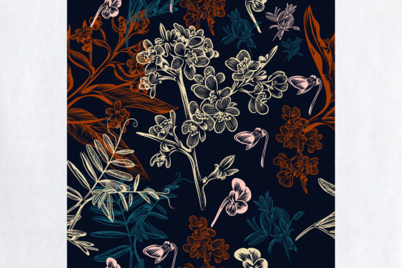 Download Free Floral Beautiful Wallpaper Pattern Graphic By Fleurartmariia for Cricut Explore, Silhouette and other cutting machines.