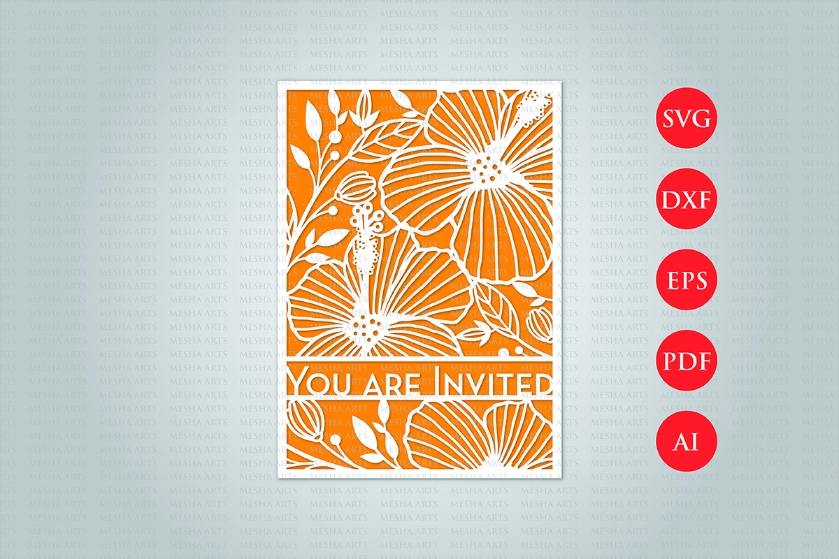 Download Free Floral Cut Wedding Invitation Template Graphic By Meshaarts for Cricut Explore, Silhouette and other cutting machines.