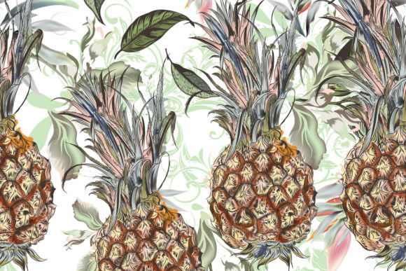 Floral Pattern with Flowers Pineapple Graphic Patterns By fleurartmariia