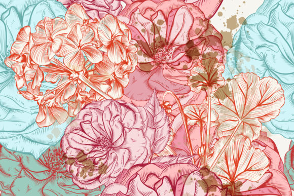 Floral Rose Pattern in Victorian Style Graphic Patterns By fleurartmariia