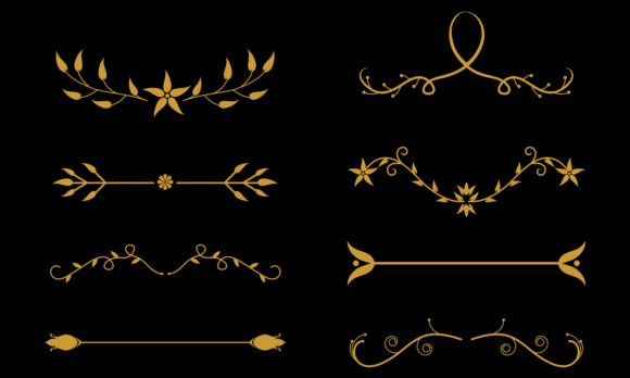 Flower Ornament Dividers. Hand Drawn Vin Graphic Logos By DEEMKA STUDIO
