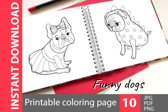 Funny Dog Coloring Book Gráfico Coloring Pages & Books Kids Por NataliMyaStore