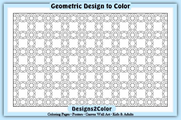 Print on Demand: Geometric Design #11922 Graphic Coloring Pages & Books Adults By Designs 2 Color