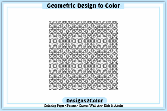 Print on Demand: Geometric Design #92610 Graphic Coloring Pages & Books Adults By Designs 2 Color