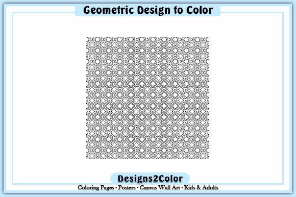 Print on Demand: Geometric Design #92623 Graphic Coloring Pages & Books Adults By Designs 2 Color