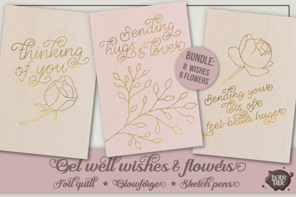 Get Well Wishes, Single Line Designs SVG Cut Files