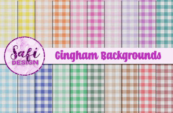 Print on Demand: Gingham Backgrounds Graphic Backgrounds By Safi Designs