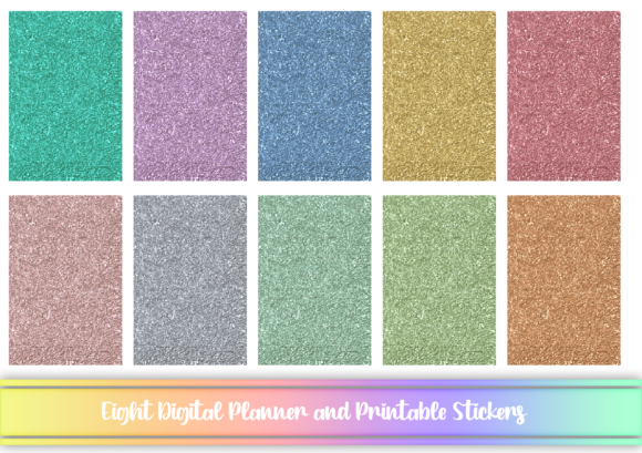 Glitter Digital and Printable Stickers Graphic Print Templates By AM Digital Designs