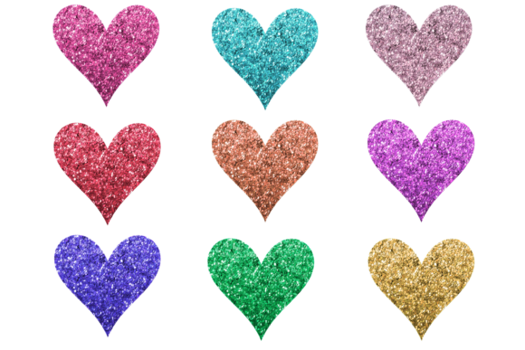 Print on Demand: Glitter Hearts Clipart or Stickers Graphic Print Templates By AM Digital Designs
