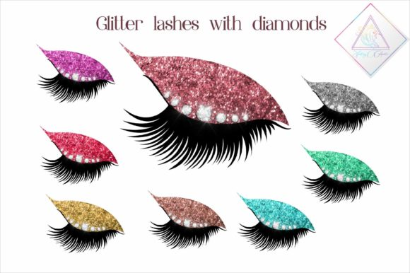 Download Free Glitter Lashes With Diamonds Clipart Grafico Por Fantasycliparts for Cricut Explore, Silhouette and other cutting machines.