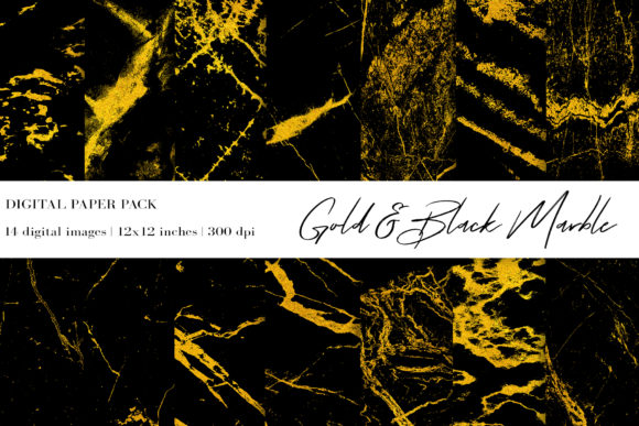 Gold Black Marble Digital Papers Graphic Textures By BonaDesigns