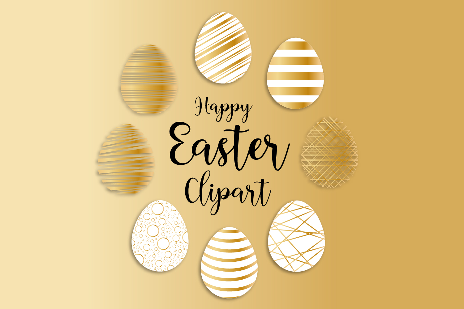 Download Free Gold Easter Egg Clipart Easter Graphic By Igraphic Studio for Cricut Explore, Silhouette and other cutting machines.