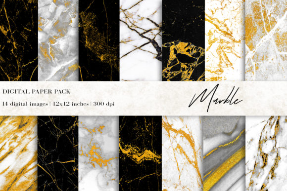 Gold Marble Digital Papers, Backgrounds Graphic Backgrounds By BonaDesigns