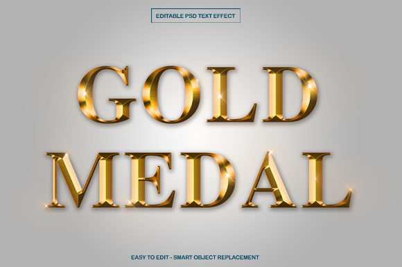 Gold Medal Text Effect in Photoshop Graphic Product Mockups By knou