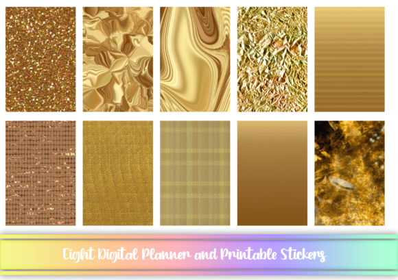 Print on Demand: Golden Digital and Printable Stickers Graphic Print Templates By AM Digital Designs