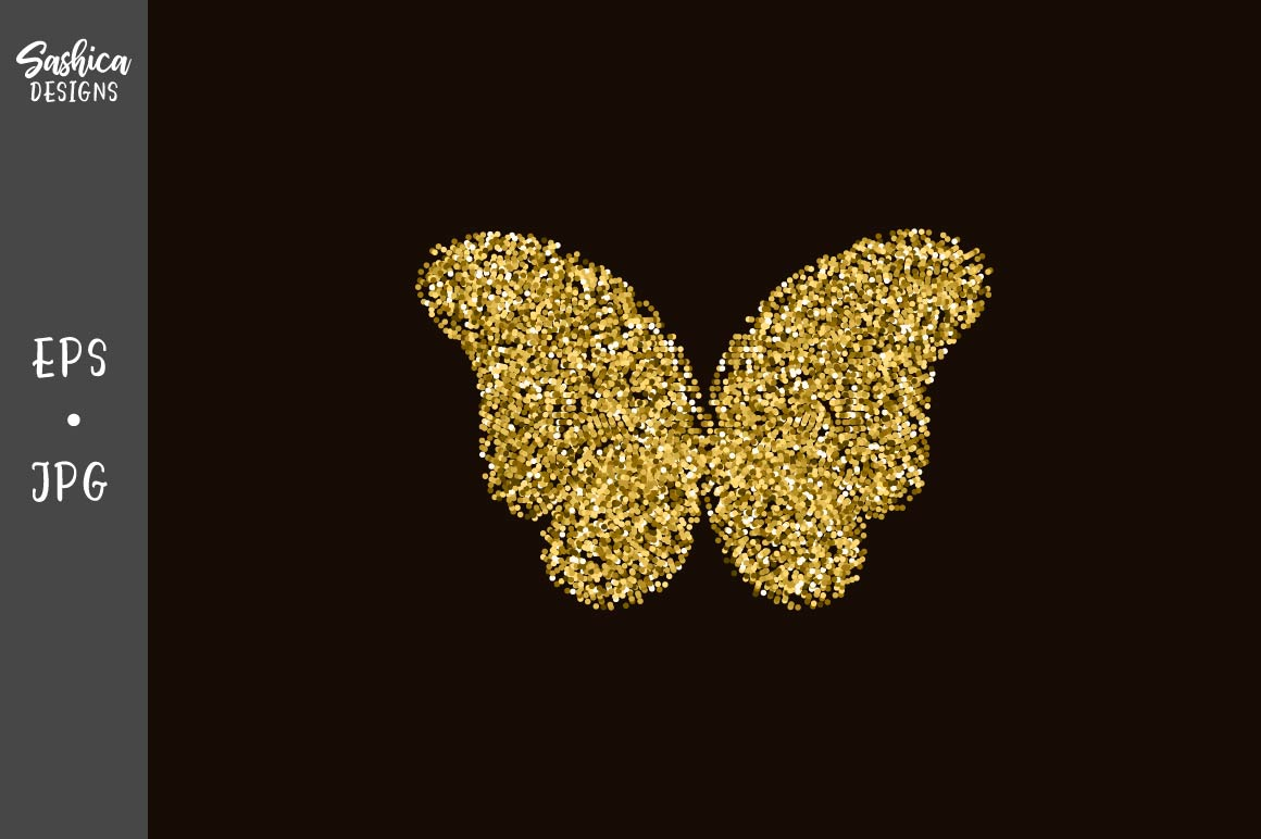 Download Free Golden Butterfly With Glitter Vector Graphic By Sashica Designs for Cricut Explore, Silhouette and other cutting machines.
