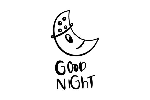 Download Free Good Night Simple Greeting Card Design Graphic By Dangglemstudio for Cricut Explore, Silhouette and other cutting machines.