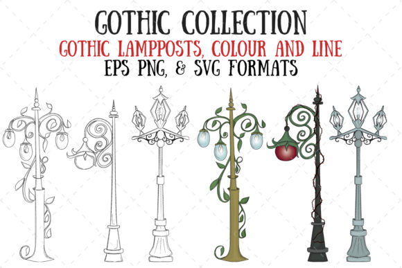 Gothic Lampposts Graphic Illustrations By My Little Black Heart