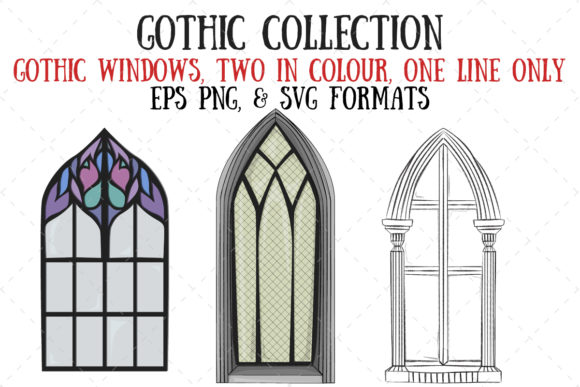 Gothic Windows Graphic Illustrations By My Little Black Heart
