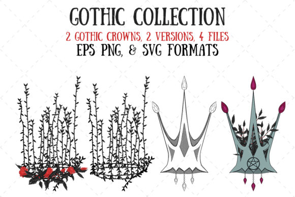 Gothic Crowns Graphic Illustrations By My Little Black Heart