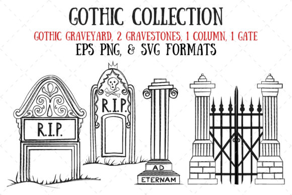 Gothic Gravestones, Column, and Gate Graphic Illustrations By My Little Black Heart