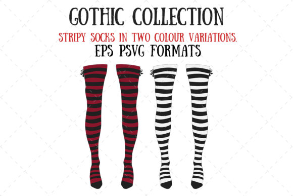 Gothic Stripy Stockings Graphic Illustrations By My Little Black Heart