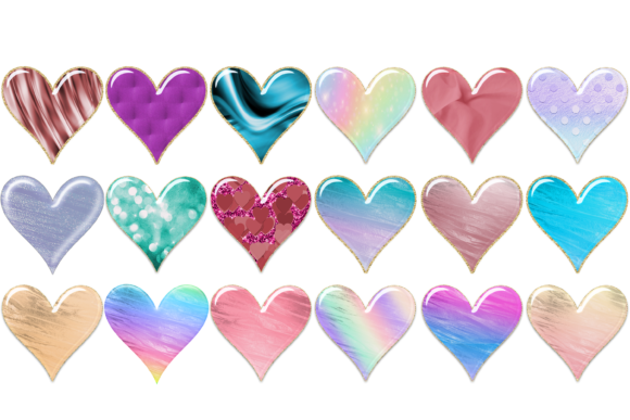 Print on Demand: Gradient Embossed Pattern Heart Clipart Graphic Print Templates By AM Digital Designs