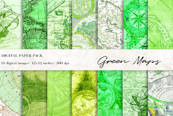 Green Maps Digital Papers, Vintage Maps Graphic Textures By BonaDesigns