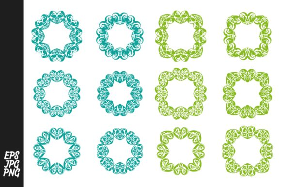 Download Free Green And Blue Monogram Love Ornament Graphic By Arsa Adjie for Cricut Explore, Silhouette and other cutting machines.