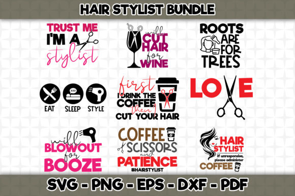 Download Free Hair Stylist Bundle 9 Designs Included Graphic By Svgexpress for Cricut Explore, Silhouette and other cutting machines.