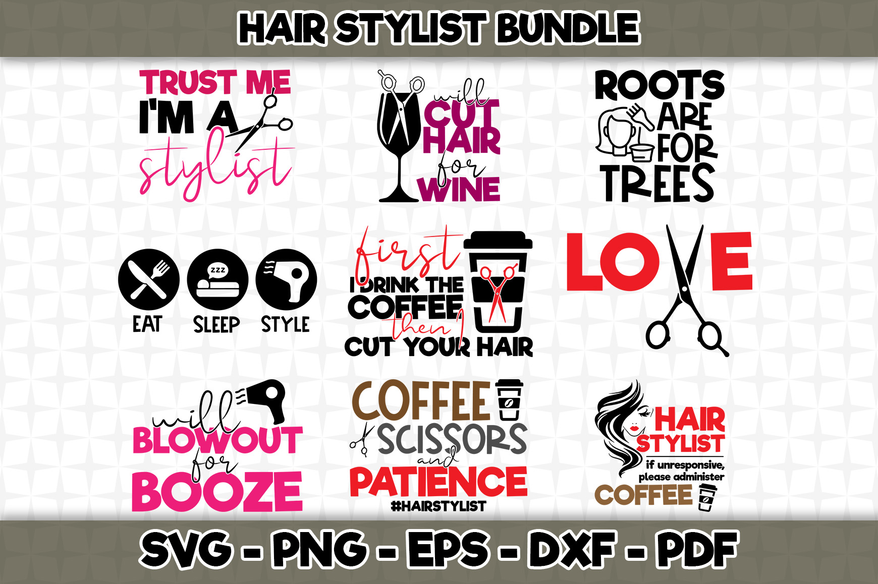 Download Free Hair Stylist Bundle 9 Designs Included Graphic By Svgexpress Creative Fabrica for Cricut Explore, Silhouette and other cutting machines.