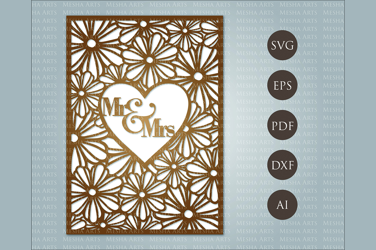 Download Free Heart Laser Cut Wedding Invitation Graphic By Meshaarts for Cricut Explore, Silhouette and other cutting machines.